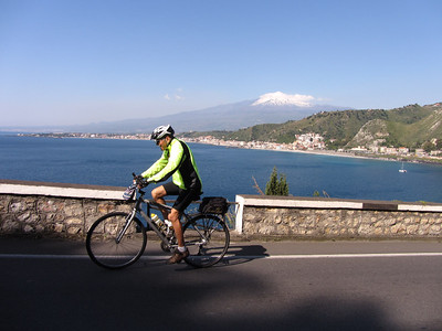 Harold sails past Mt. Etna on the way to Taormina