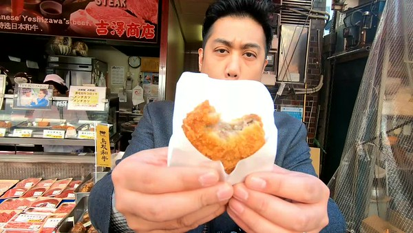 Outer food stalls near Tsukiji Fish Market (Video)