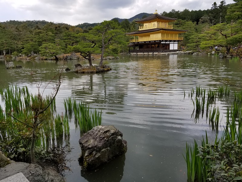 Kinkaku-ji or Golden Pavilion in real gold leaf