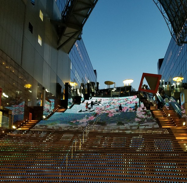Light Display on steps of Kyoto train station