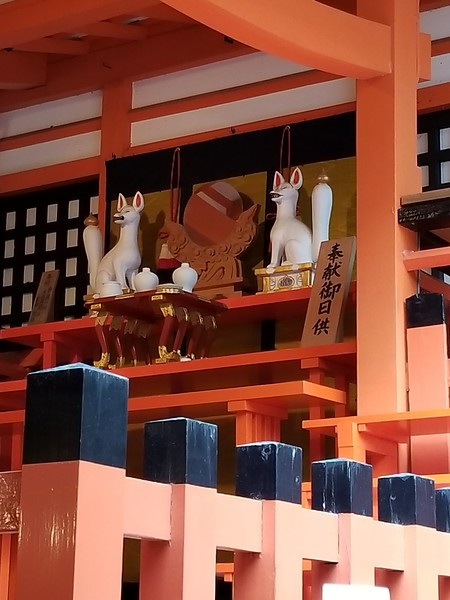 Sacred fox figures adorn temples