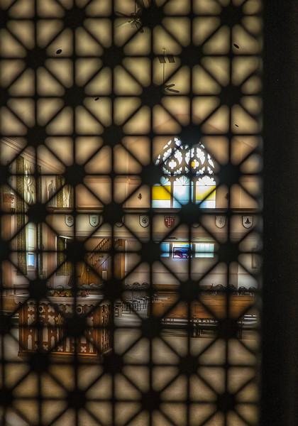 Chapel through screen