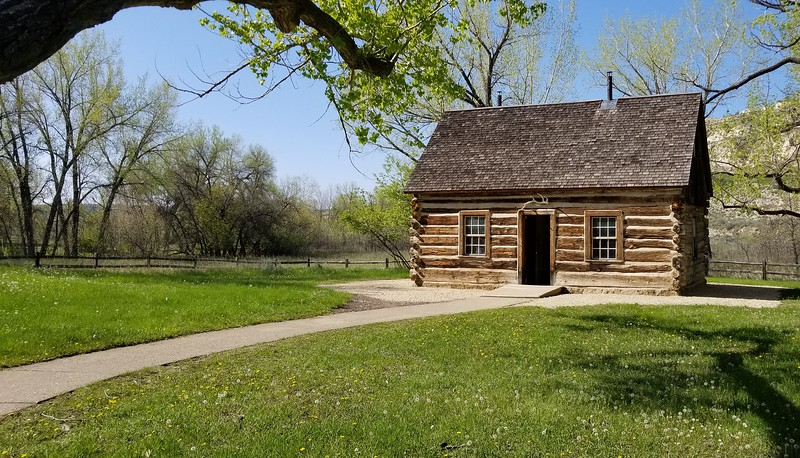"""Teddy's """"Maltese Cross"""" ranch cabin, preserved and transported to site."""