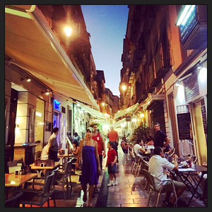 Enjoying our first evening in Granada at Calle Navas. Calm before the storm.