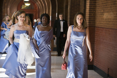The bridesmaids make their way through the corridors of Healy Hall - Washington, DC ... April 26, 2008 ... Photo by Holland Photo Arts