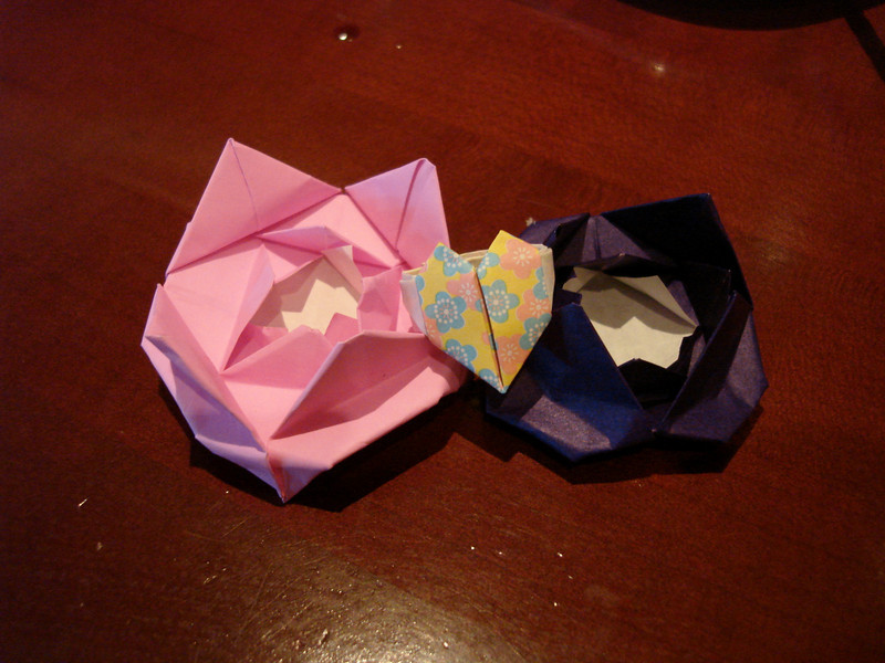 Our little origami heart and flowers we got at the end.