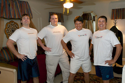 James, Sam, Kevin and Michael in tees maded by Kelly & Michael