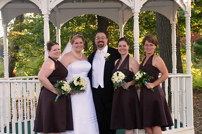 The bridesmaids and the happy couple!