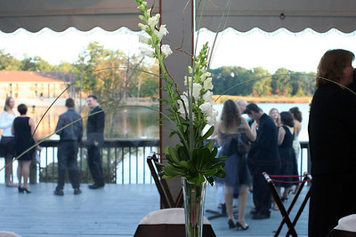 A view of the centerpiece and the outdoor patio.
