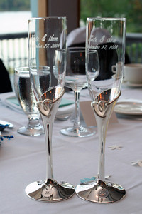 Toasting flutes - inscribed with Kate & Sam, September 27, 2008.  A gift from the Bride's parents.