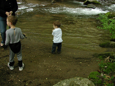 Eli and Tate and the creek.