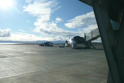 El Calafate airport, the southernmost city of our trip