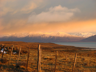 Gorgeous Patagonian Sunrise. Patagonia lies at the far west end of a wide time zone so the sun doesn't rise until 9 am