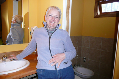 Mom is happy to have a contained bathroom