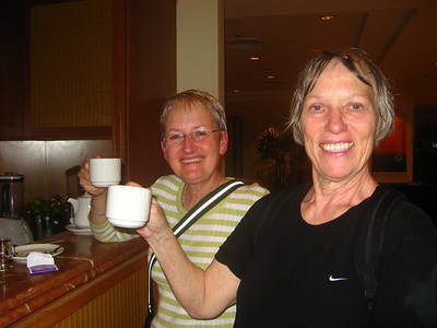 Having expensive tea at the Sheraton after getting caught in a downpour
