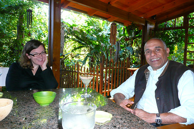 Sara with John, the owner of the B&B with our welcome daquirris