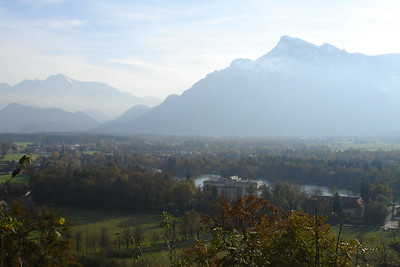 View of the Alps from the cliffs by the city
