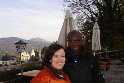 Julius and Sara on the cliffs above Salzburg
