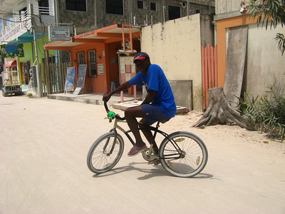 Julius riding on Caye Caulker