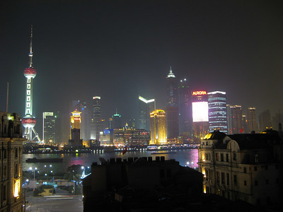 View from the bar on the top floor of the hostel (Pudong)