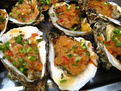 These look delicious but there was no way we were trying oysters in a country with such polluted water