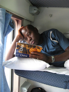 Julius reading up on China on the 24 hour train ride from Hong Kong