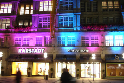 One of munich's shopping centers at night