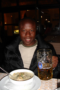 Julius at the Hofbrauhaus having a beer and Dumplings