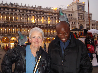 Mom and Julius with a better amount of pigeons