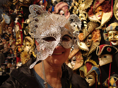 Trying on masks in Venice