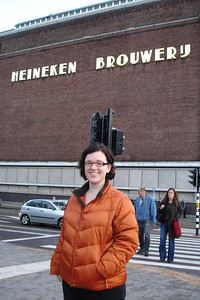 Sara in front of Heineken museum in Amsterdam
