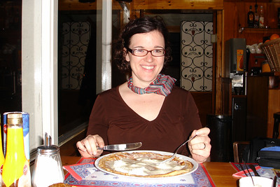 Sara's eating a dutch pancake in Amsterdam