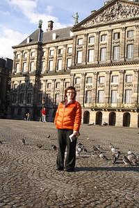 Sara at the main square Amsterdam