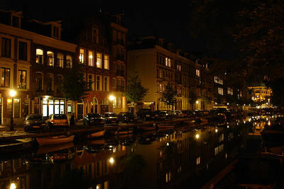 Night view of Amsterdam canal