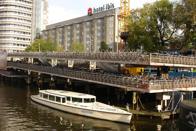 The World's largest bicycles parking lot by Amsterdam train station