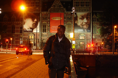 Downtown Amsterdam at night, in front of the Rijksmuseum