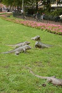 Iguana statues at Amsterdam park