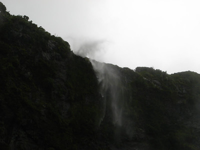 The wind was so strong it blew the top waterfall away