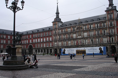 Madrid's Plaza Mayor (Main square). One building was painted with art and they say the color of the other buildings was decided by citywide vote. We ate Churros and Chocolate in a bar on the square