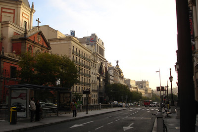 One of the streets in downtown Madrid, early in the morning.