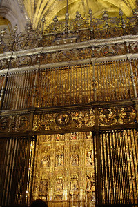 Gold Altar at the Seville Cathedral. They can thank Columbus for all this gold from the new world