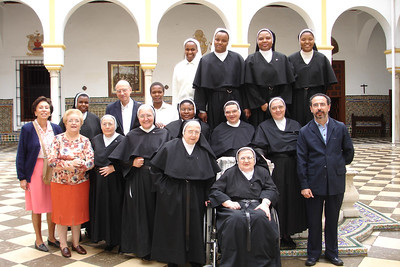 Front Row Left to Right, Maria Dolores, on wheel chair is mother superior Corazone de Jesus, Second Row left to Right Josepha Baco, Augustina, Natividad, Caroline, immaculate, Maria Del Vaje, Juan Antonio, Third Row Left to Right Carmen, Jacqueline, Carlos Martinez, Salome, Cleopha, Digna, Delpha, Rosemary