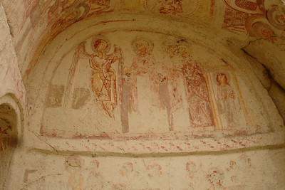 Frescoes at Goreme's famous Open Air Museum, a large town full of churches and living quarters of ancient Christians, carved into the hills and cliffs.