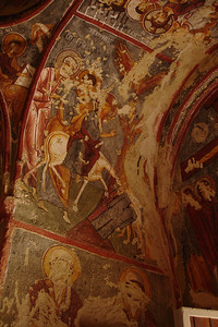 Frescoes at Goreme's famous Open Air Museum, a large town full of churches and living quarters of ancient Christians, carved into the hills and cliffs. Unfortunately the people who captured this area were not fans of the Catholic saints and most of the reachable frescoes were defaced.
