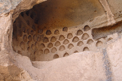 Some of the millions of pigeons crevices carved into the cliffs of the Cappadocia region. Pigeons were used for food and fertilizer by the farmers for centuries and their egg shells were also used in making the frescoes on the church walls. The poor pigeons in cities today get electric wires on the places to perch!