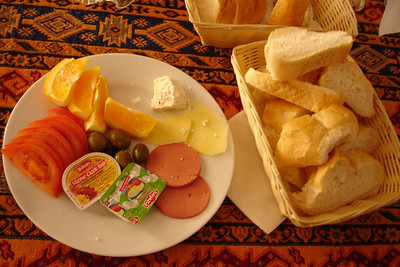 Our delicious Turkish Breakfast at our guesthouse