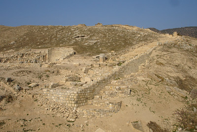 Roman ruins of Hierapolis above the travertines