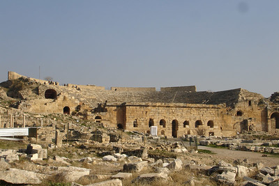 Amphitheatre at the Roman ruins of Hierapolis above the travertines