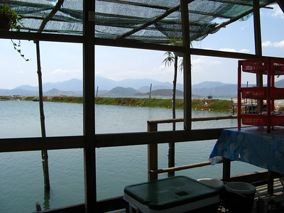 This restaurant sat right on top of a fish farm pool. Very convenient!