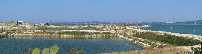 Shrimp farms on the bay